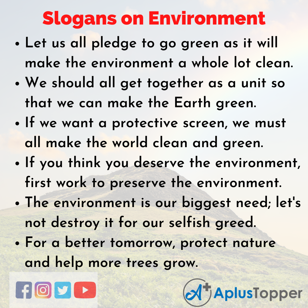 Unique and Catchy Slogans on Environment