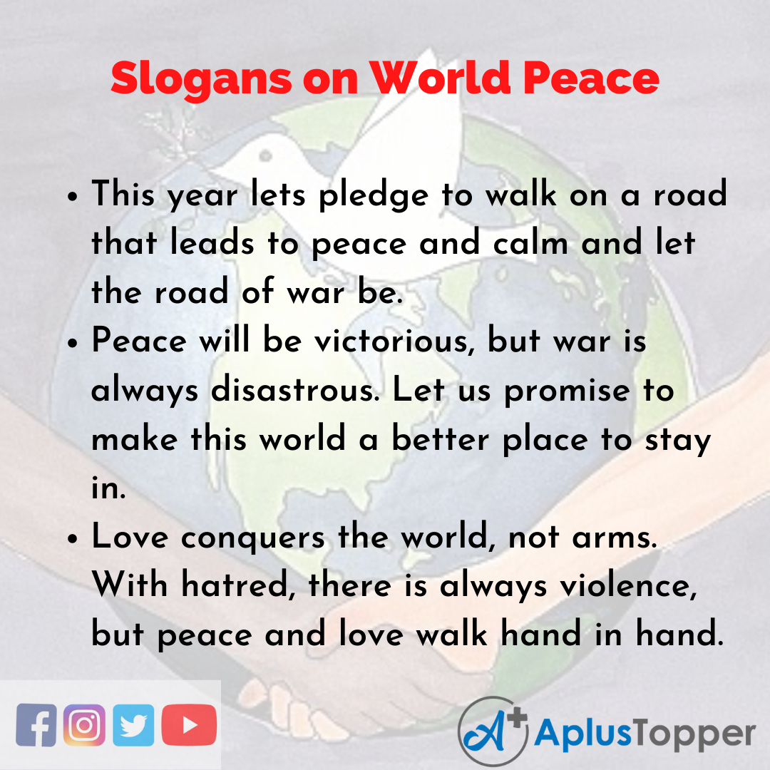 5 Slogans on World Peace in English