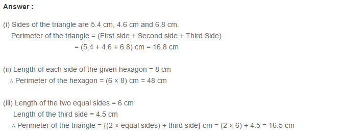 Concepts of Perimeter and Area RS Aggarwal Class 6 Maths Solutions CCE Test Paper 1.1