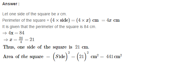 Concepts of Perimeter and Area RS Aggarwal Class 6 Maths Solutions CCE Test Paper 4.1