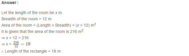 Concepts of Perimeter and Area RS Aggarwal Class 6 Maths Solutions CCE Test Paper 5.1