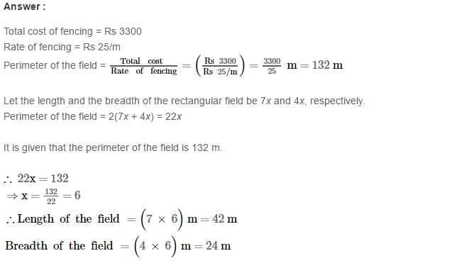 Concepts of Perimeter and Area RS Aggarwal Class 6 Maths Solutions Ex 21A 5.1