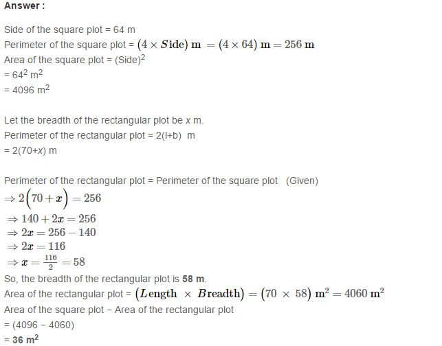 Concepts of Perimeter and Area RS Aggarwal Class 6 Maths Solutions Ex 21D 12.1