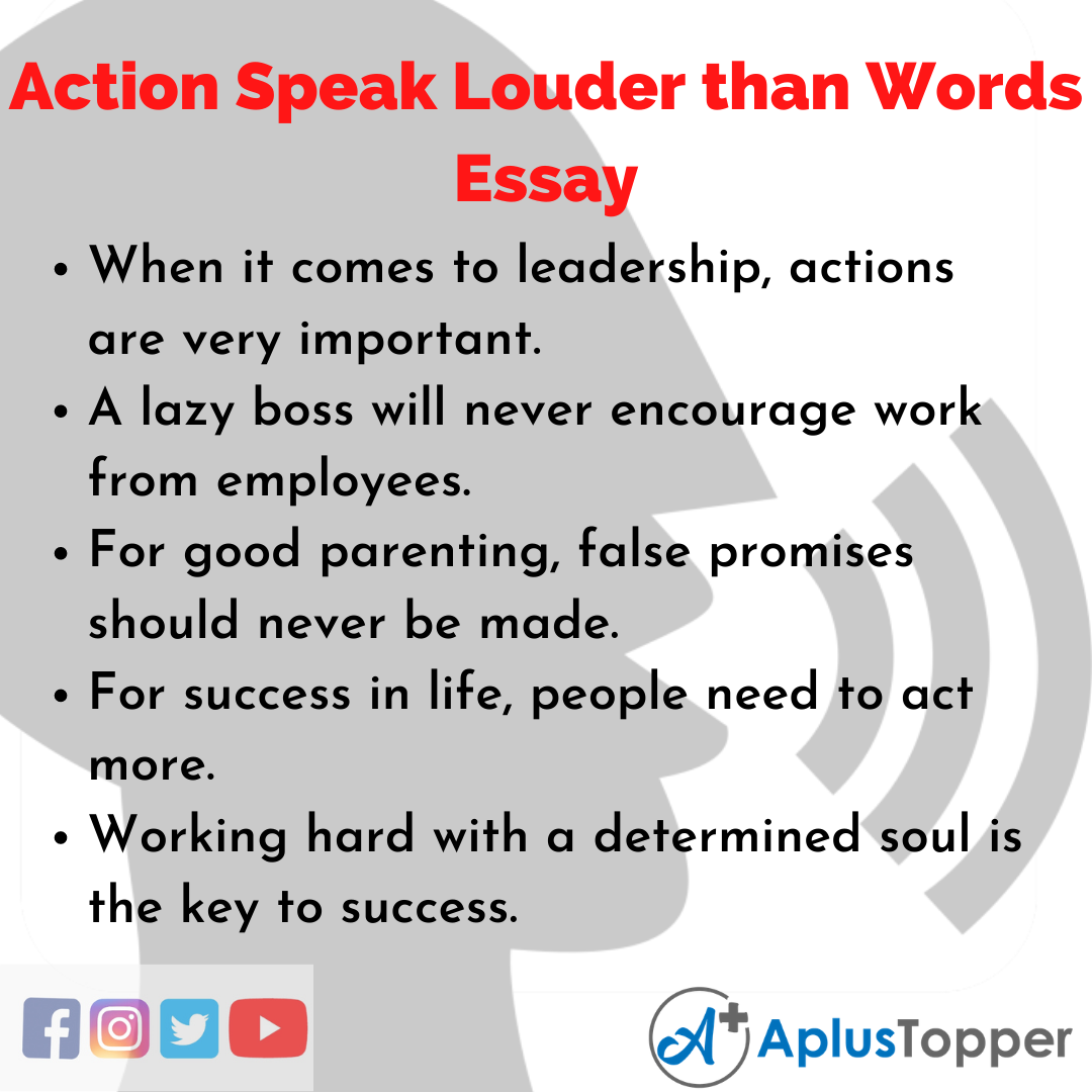 Essay about Action Speak Louder than Words