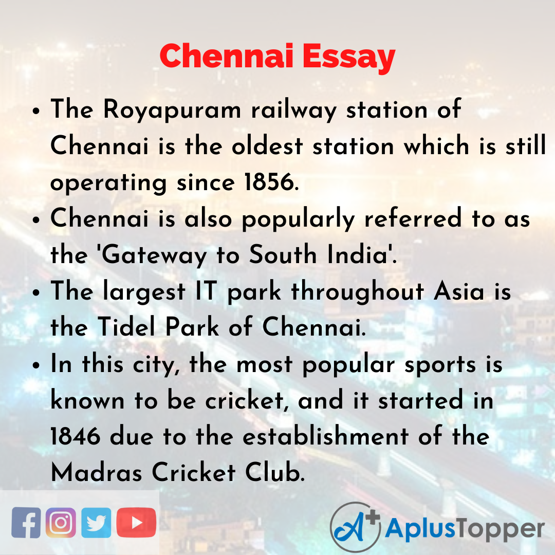 Essay about Chennai