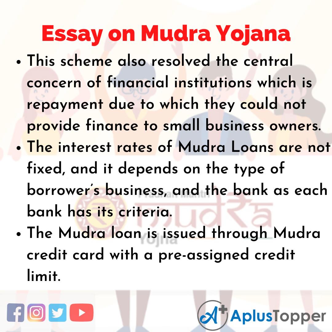 Essay about Mudra Yojana