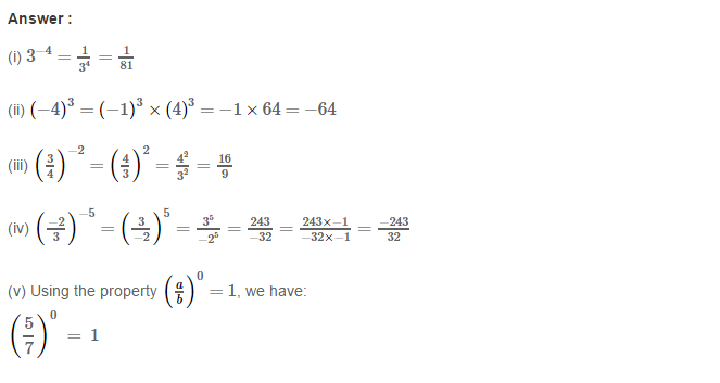 Exponents RS Aggarwal Class 8 Maths Solutions CCE Test Paper 1.1