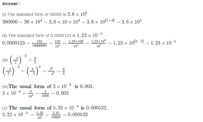 Exponents RS Aggarwal Class 8 Maths Solutions CCE Test Paper 14.1