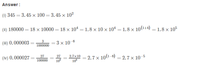 Exponents RS Aggarwal Class 8 Maths Solutions CCE Test Paper 6.1