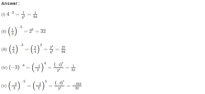 Exponents RS Aggarwal Class 8 Maths Solutions Exercise 2A 1.1