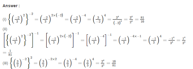 Exponents RS Aggarwal Class 8 Maths Solutions Exercise 2A 4.1