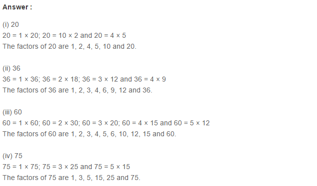 Factors and Multiples RS Aggarwal Class 6 Maths Solutions Exercise 2A 2.1