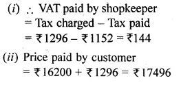 ML Aggarwal Class 10 Solutions for ICSE Maths Chapter 25 Value Added Tax Chapter Test Q50.2