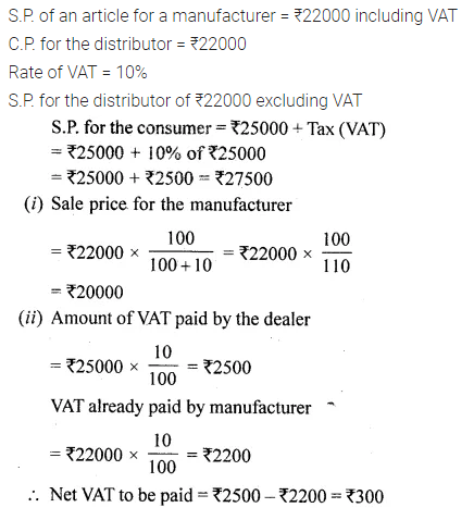 ML Aggarwal Class 10 Solutions for ICSE Maths Chapter 25 Value Added Tax Chapter Test Q50.3