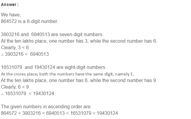 Number System RS Aggarwal Class 6 Maths Solutions CCE Test Paper 3.1