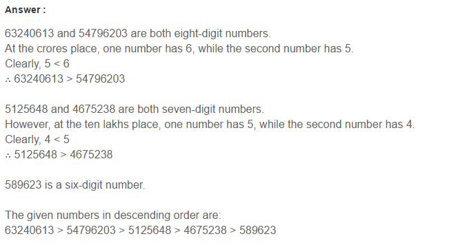 Number System RS Aggarwal Class 6 Maths Solutions CCE Test Paper 4.1