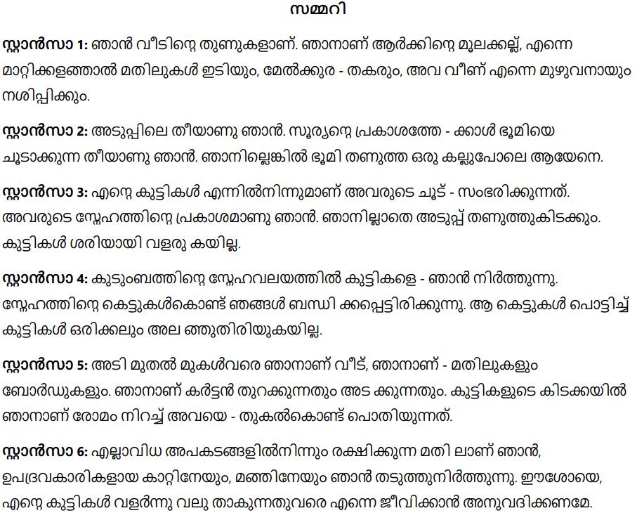 Summary in malayalam poem Mambazham (Mango