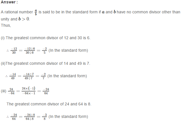 Rational Numbers RS Aggarwal Class 8 Solutions 6.1