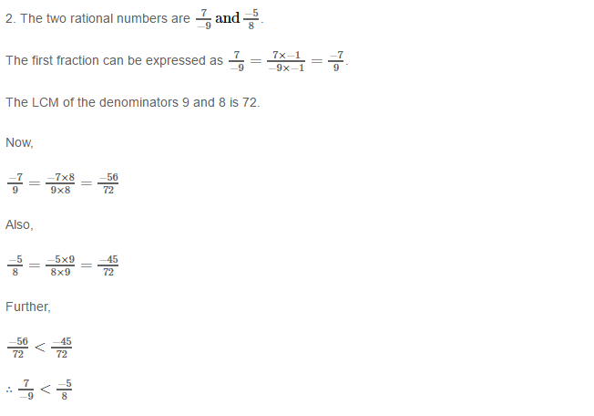 Rational Numbers RS Aggarwal Class 8 Solutions 8.2