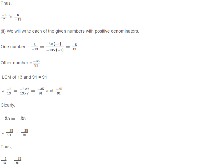 Rational Numbers RS Aggarwal Class 8 Solutions 9.1