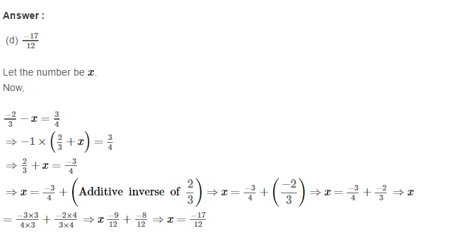 Rational Numbers RS Aggarwal Class 8 Solutions CCE Test Paper 11.1