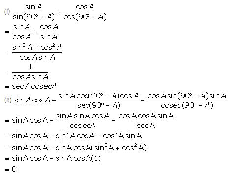 Selina Concise Mathematics Class 10 ICSE Solutions Trigonometrical Identities image - 119