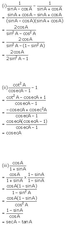 Selina Concise Mathematics Class 10 ICSE Solutions Trigonometrical Identities image - 182