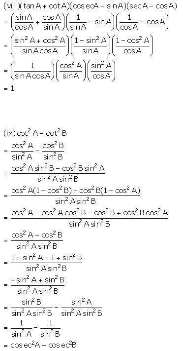 Selina Concise Mathematics Class 10 ICSE Solutions Trigonometrical Identities image - 185