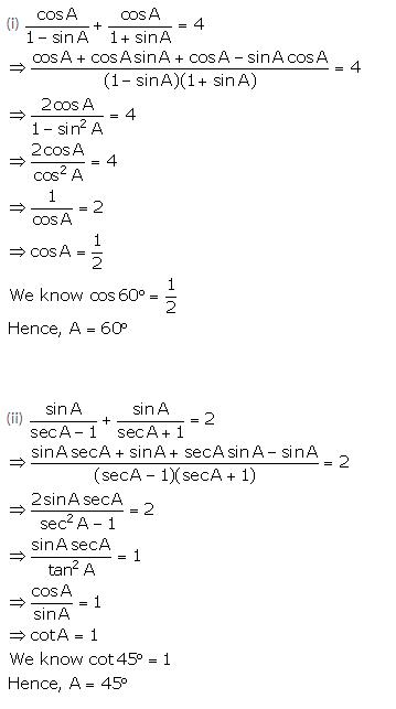 Selina Concise Mathematics Class 10 ICSE Solutions Trigonometrical Identities image - 192