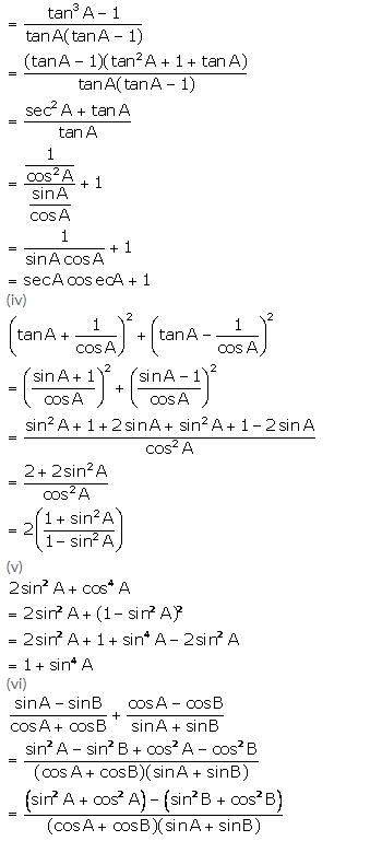 Selina Concise Mathematics Class 10 ICSE Solutions Trigonometrical Identities image - 99