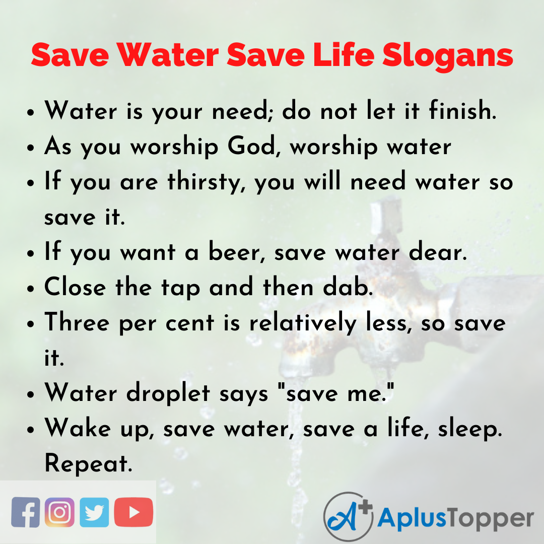 Slogans on Save Water Save Life in English