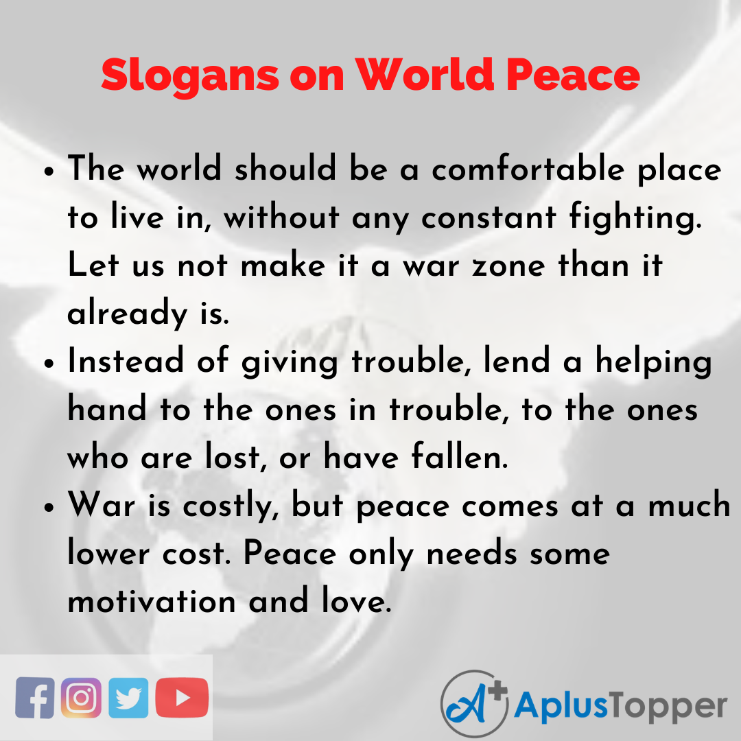 Slogans on World Peace in English