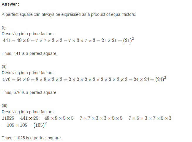 Squares and Square Roots RS Aggarwal Class 8 Maths Solutions Exercise 3A 1.1