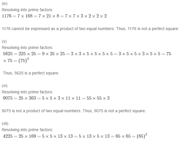 Squares and Square Roots RS Aggarwal Class 8 Maths Solutions Exercise 3A 1.2