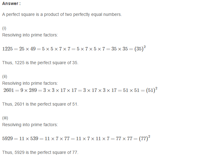 Squares and Square Roots RS Aggarwal Class 8 Maths Solutions Exercise 3A 2.1