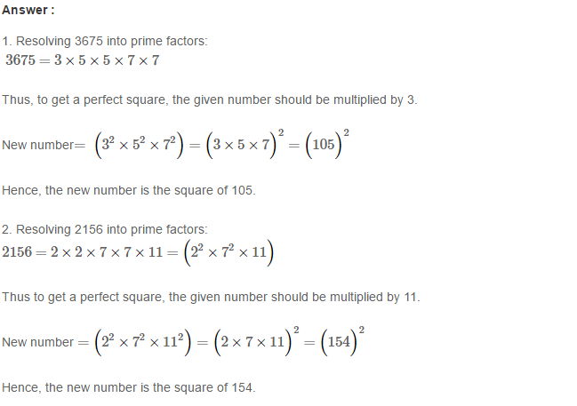 Squares and Square Roots RS Aggarwal Class 8 Maths Solutions Exercise 3A 3.1
