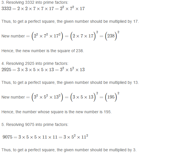 Squares and Square Roots RS Aggarwal Class 8 Maths Solutions Exercise 3A 3.2