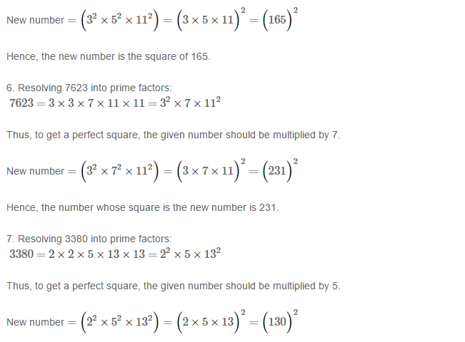 Squares and Square Roots RS Aggarwal Class 8 Maths Solutions Exercise 3A 3.3