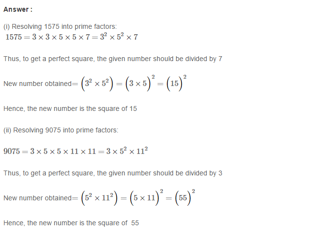 Squares and Square Roots RS Aggarwal Class 8 Maths Solutions Exercise 3A 4.1