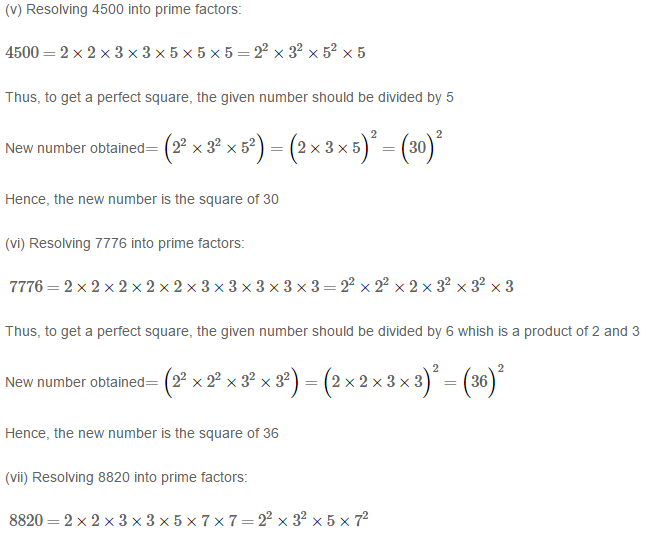 Squares and Square Roots RS Aggarwal Class 8 Maths Solutions Exercise 3A 4.3
