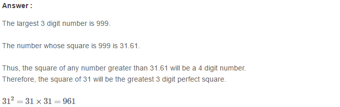 Squares and Square Roots RS Aggarwal Class 8 Maths Solutions Exercise 3A 6.1
