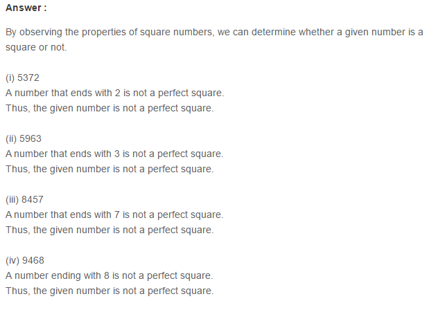 Squares and Square Roots RS Aggarwal Class 8 Maths Solutions Exercise 3B 1.1