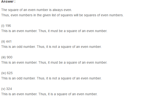 Squares and Square Roots RS Aggarwal Class 8 Maths Solutions Exercise 3B 2.1