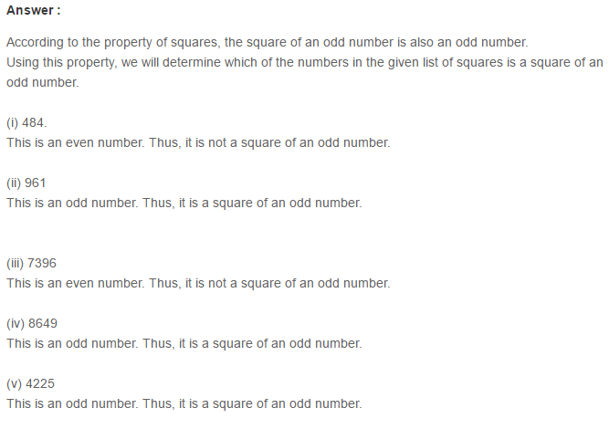 Squares and Square Roots RS Aggarwal Class 8 Maths Solutions Exercise 3B 3.1