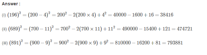 Squares and Square Roots RS Aggarwal Class 8 Maths Solutions Exercise 3B 9.1