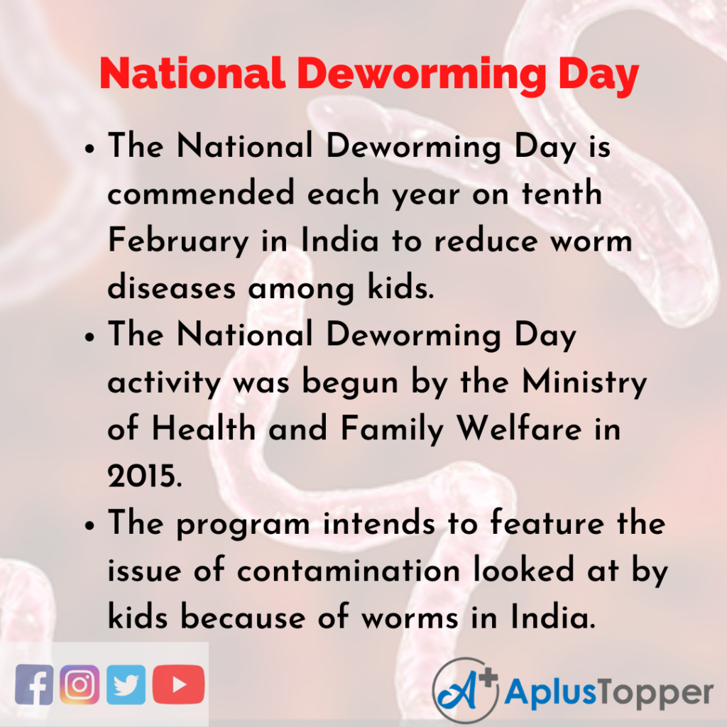 10 Lines about National Deworming Day