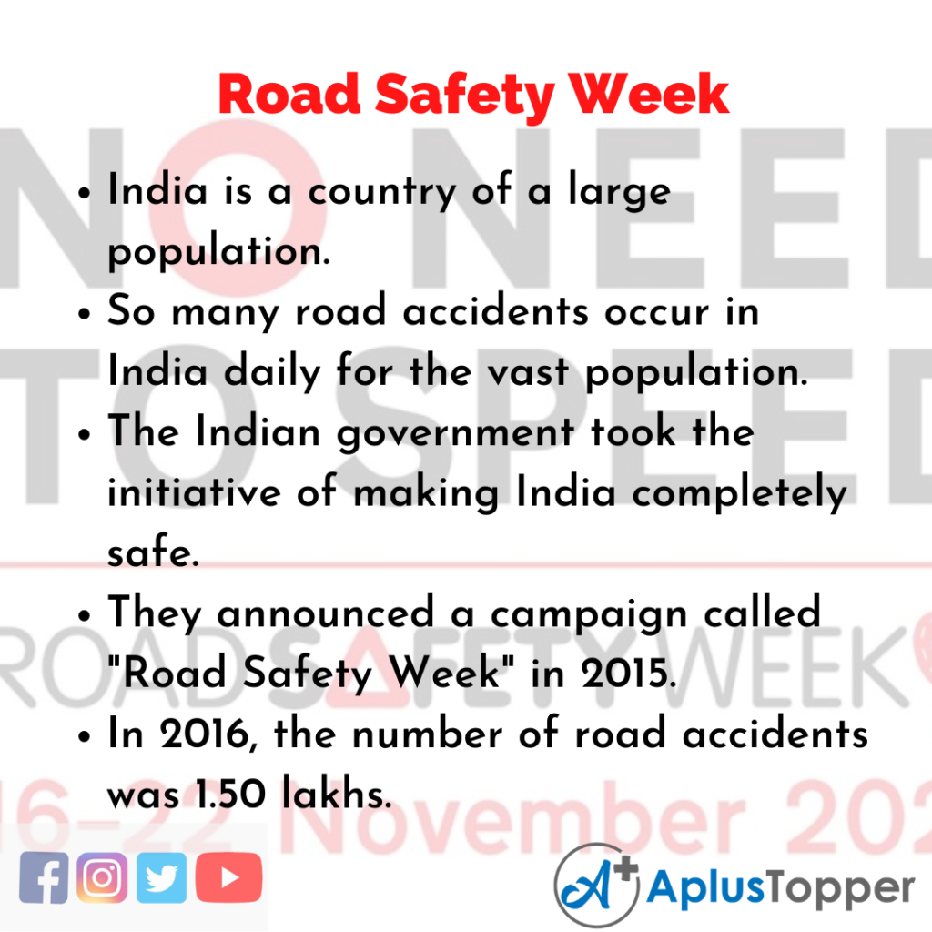 10 Lines about Road Safety Week