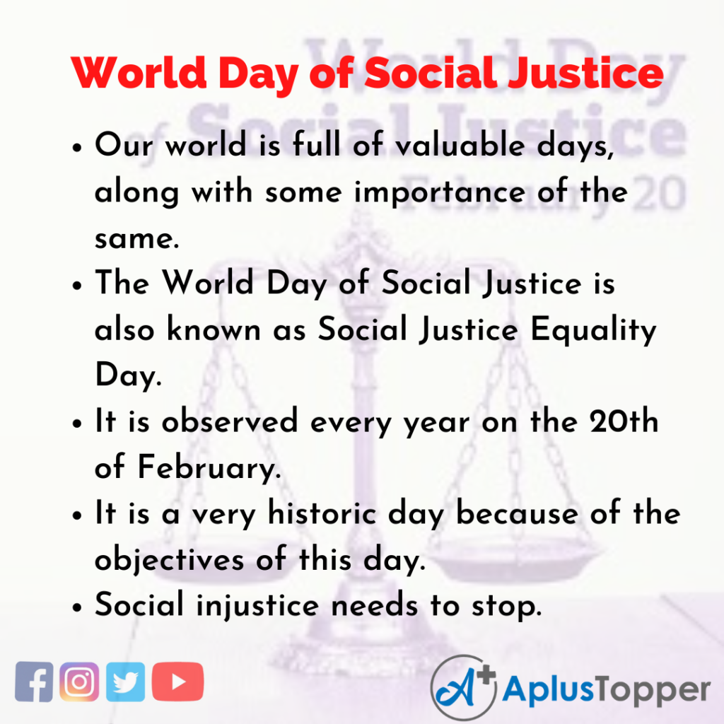 10 Lines about World Day of Social Justice