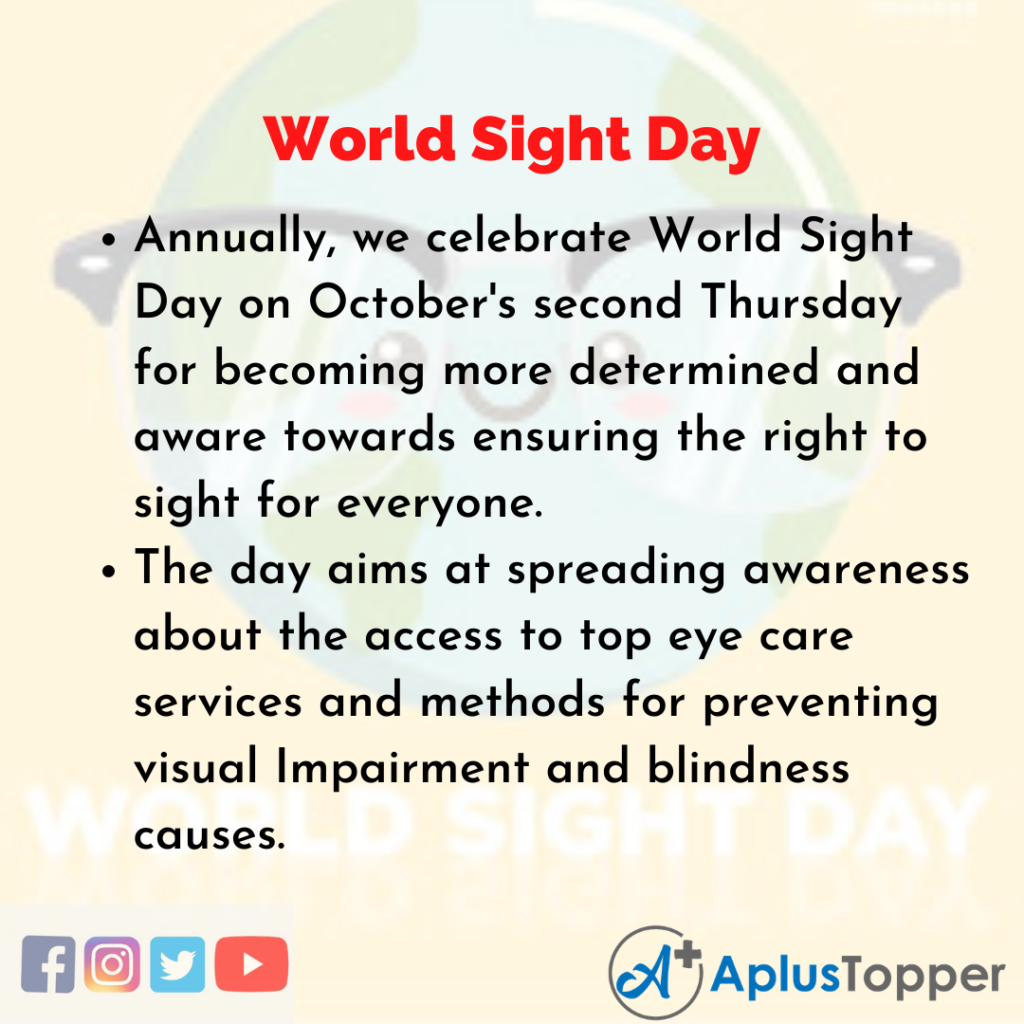 10 Lines about World Sight Day