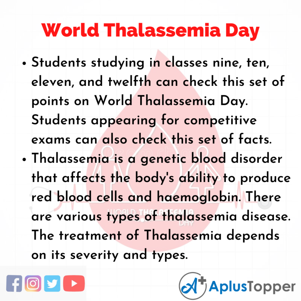 10 Lines about World Thalassemia Day